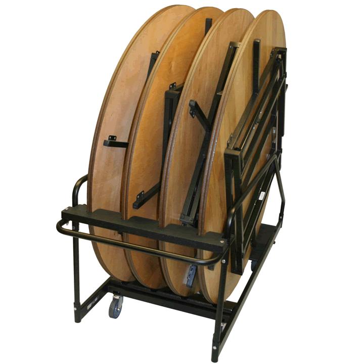 round folding leg table transport caddy
